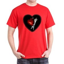 Cat with Red Heart T-Shirt