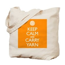 Orange Keep Calm and Carry Yarn Tote Bag