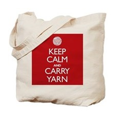 Red Keep Calm and Carry Yarn Tote Bag