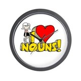 I Heart Nouns - Schoolhouse Rock! Wall Clock