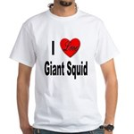 I Love Giant Squid (Front) White T-Shirt