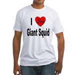 I Love Giant Squid (Front) Fitted T-Shirt