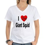 I Love Giant Squid (Front) Women's V-Neck T-Shirt
