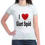 I Love Giant Squid Jr. Ringer T-Shirt