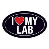I Love My Lab Oval Sticker/Decal