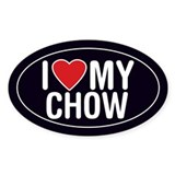 I Love My Chow Oval Sticker/Decal
