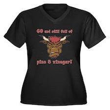 60 Piss & Vinegar Women's Plus Size V-Neck Dark T-