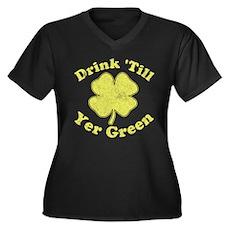 Drink 'Till Yer Green Womens Plus Size V-Neck Dar