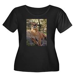 Cougar Women's Plus Size Scoop Neck Dark T-Shirt