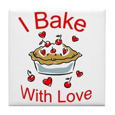 I Bake with Love (1) Tile Coaster