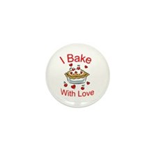 I Bake with Love (1) Mini Button (10 pack)