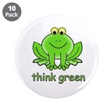 "Think Green Frog 3.5"" Button (10 pack)"
