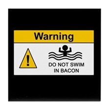 Funny Bacon Warning Tile Coaster