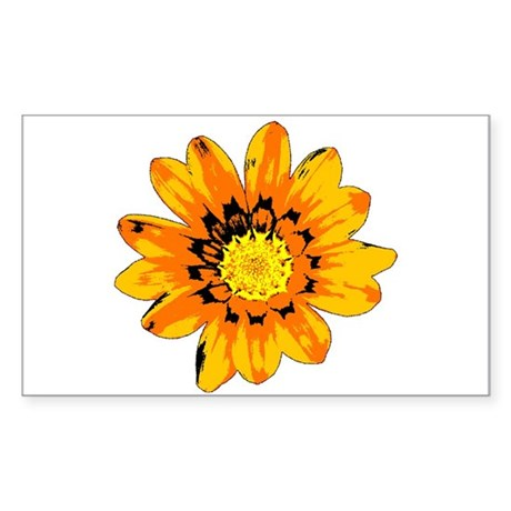 Orange Shades Pop Art Flower Sticker (Rectangle)