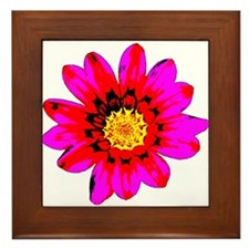 Pink Red Pop art Flower Framed Tile