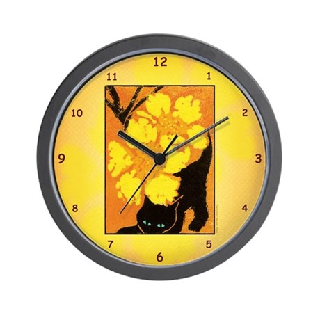 Flower Kitten Wall Clock