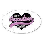 New Grandma Twins Sticker (Oval 10 pk)