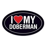 I Love My Doberman Oval Sticker/Decal