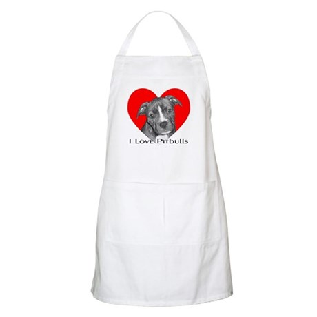 I Love Pitbulls BBQ Apron