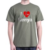 I Love Kenya (Front) Black T-Shirt