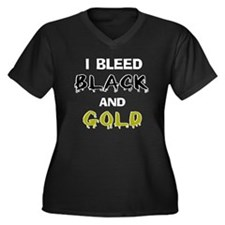 I Bleed Black and Gold Women's Plus Size V-Neck Da