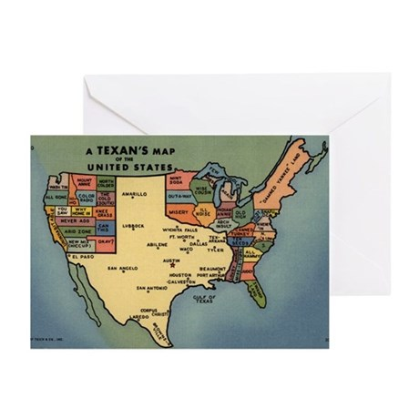 Texan's Map of the US Greeting Cards (Pk of 20)