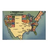 Texan's Map of the US Postcards (Package of 8)