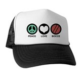 Peace Love Bocce  Trucker Hat