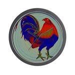 Impressionist Gamecock Wall Clock