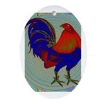 Impressionist Gamecock Ornament (Oval)