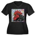 Cochin Head Women's Plus Size V-Neck Dark T-Shirt