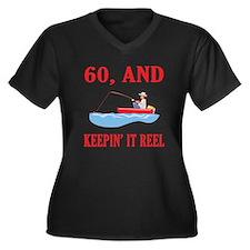 60 And Keepin' It Reel Women's Plus Size V-Neck Da