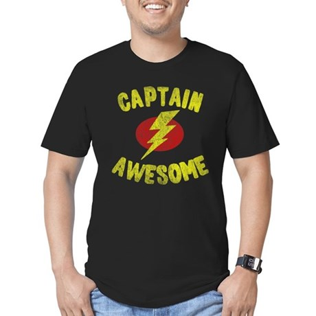 Captain Awesome Mens Fitted Dark T-Shirt