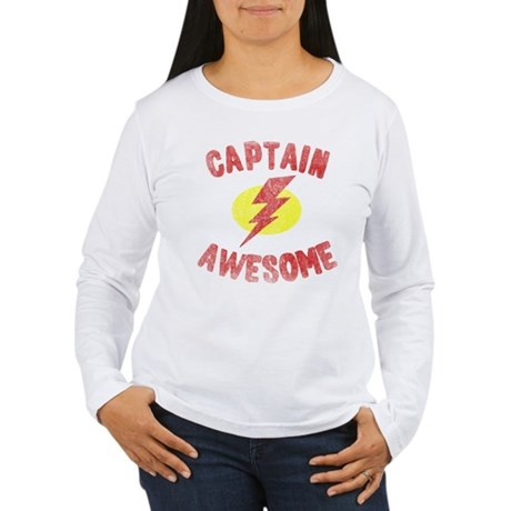 Captain Awesome Womens Long Sleeve T-Shirt