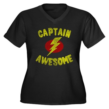 Captain Awesome Womens Plus Size V-Neck Dark T-Sh