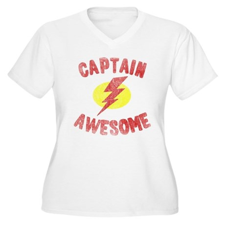 Captain Awesome Plus Size V-Neck Shirt