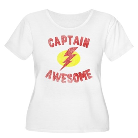 Captain Awesome Womens Plus Size Scoop Neck T-Shi