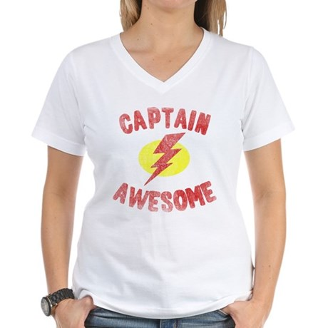 Captain Awesome Womens V-Neck T-Shirt