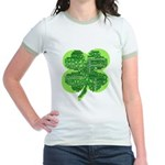 Giant Shamrock Happy Birthday Jr. Ringer T-Shirt