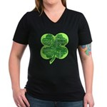 Giant Shamrock Happy Birthday Women's V-Neck Dark