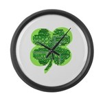 Giant Shamrock Happy Birthday Large Wall Clock