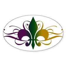 Purple Green Yellow Swirl Fleur De Lis Decal