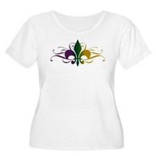 Purple Green Yellow Swirl Fleur De Lis T-Shirt