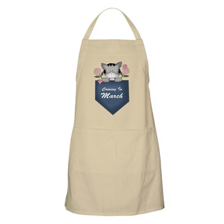 March Baby Announcement Kitty Apron