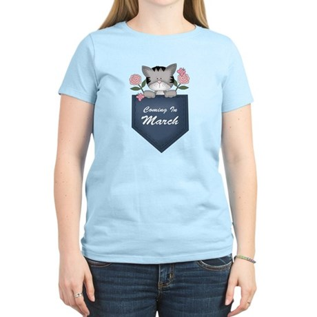 March Baby Announcement Kitty Women's Light T-Shir