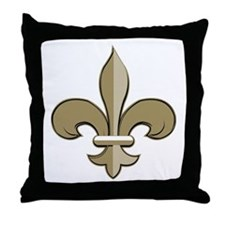 Fleur de lis black gold Throw Pillow
