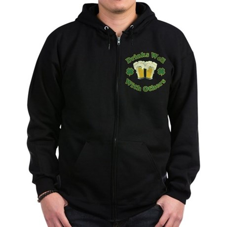 Drinks Well With Others Zip Dark Hoodie