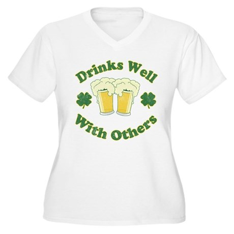 Drinks Well With Others Womens Plus Size V-Neck T