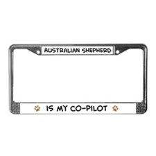 Co-pilot: Australian Shepherd License Plate Frame