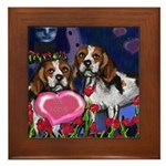 BEAGLE valentine Framed Tile
